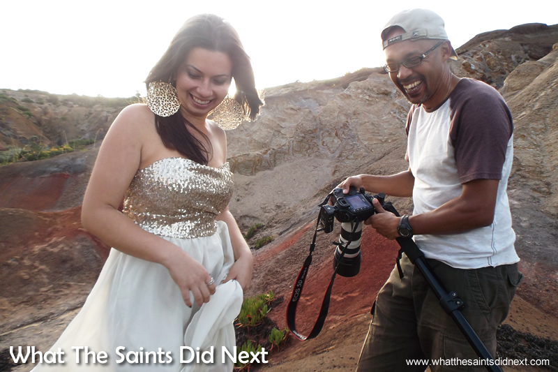 Having a laugh between takes. Miss St Helena photoshoot with Sinead Green.
