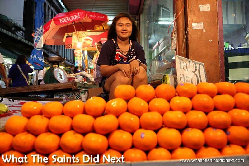 The wide angle of the 24-70mm lens was perfect for capturing this little girl helping out on a fruit stall in Bangkok.