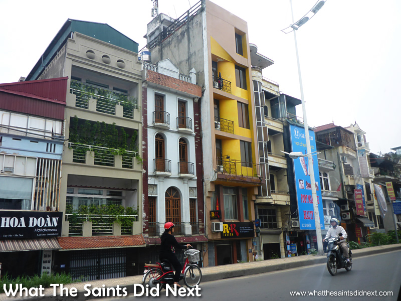 The tall, narrow buildings of Vietnam.