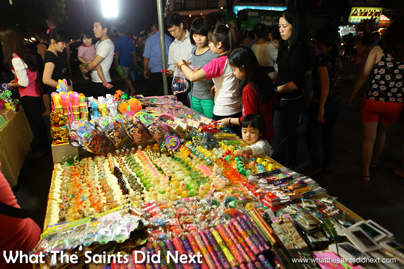 Colourful and well organised stalls compete for sales.