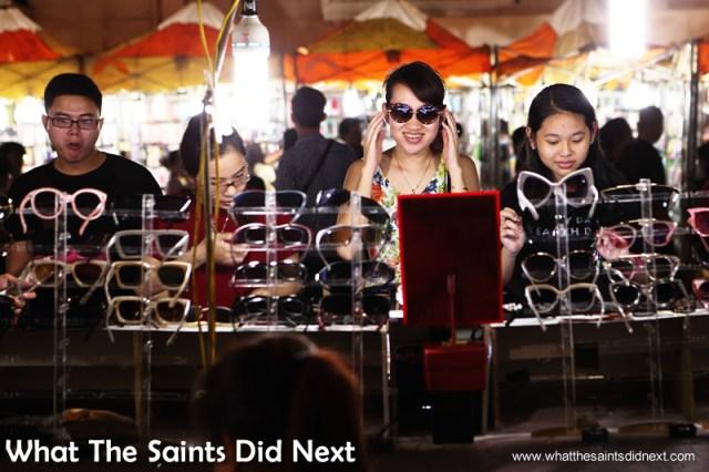 Sunglasses are very popular Hanoi night market.