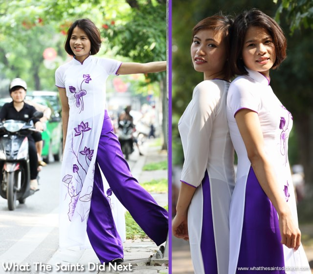 It didn't take long for the girls to start having fun with the location.  The Ao Dai photoshoot in Hanoi.