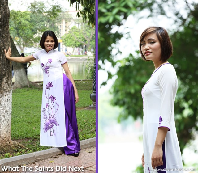 Jane (left) and Trang (also known as Emily), modelling for the first time.  The Ao Dai photoshoot in Hanoi.