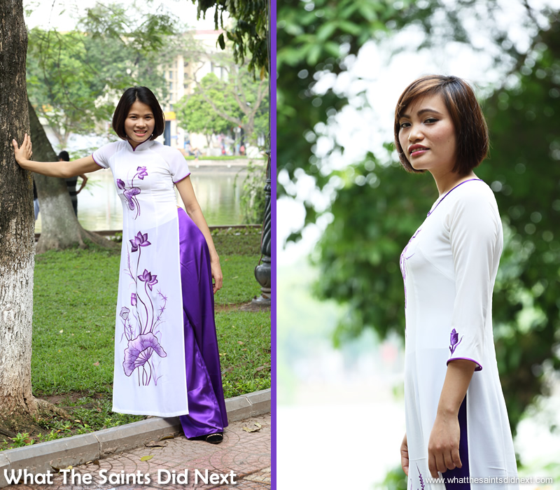 Ao Dai in Vietnam is a traditional dress. Vietnamese girls Jane (left) and Trang modelling for our Hanoi photoshoot.