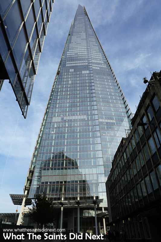 The Shard is one of the newest additions to London's skyline, completed in 2012. Its 95 floors are located on top of London Bridge tube station, and it is currently the tallest building in the European Union, standing at 309.6 meters high.