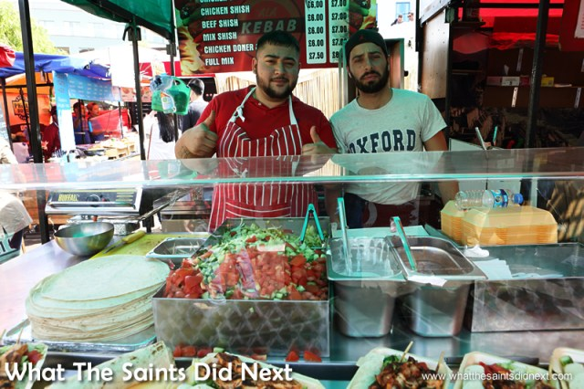 Turkish kebab sellers.  Camden Market street food.