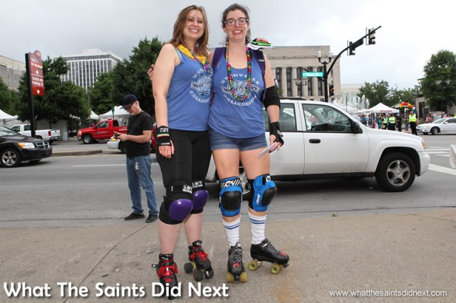 """Cathy (left) a skater in a roller derby team, has lived in Nashville for 5 years, originally from Louisiana. """"I absolutely believe in equality. I know a lot of people who have been affected by discrimination of this type and I really am glad about the ruling in Supreme Court yesterday and I just want to celebrate with all my friends. I cried a little when I read some of the ruling, it was beautifully written."""""""