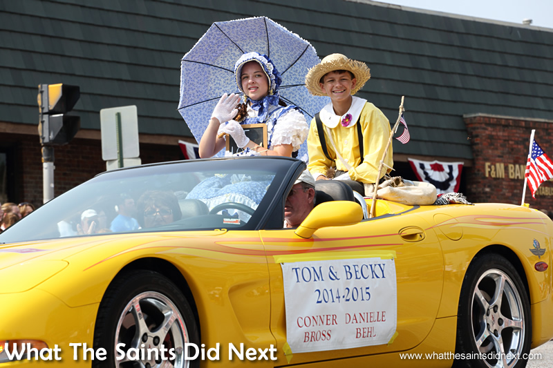 2014 Tom and Becky pairings taking part in the July 4th parade in Hannibal in 2015.
