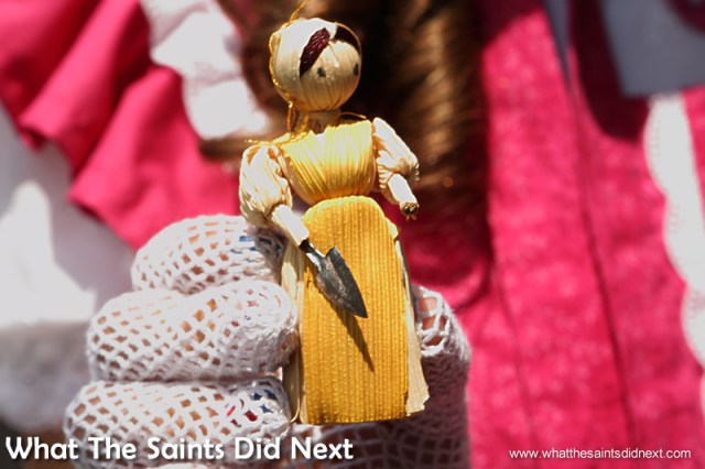 The corn husk doll in Lillie's hand bag, typical of a toy Becky might have carried in 1876.