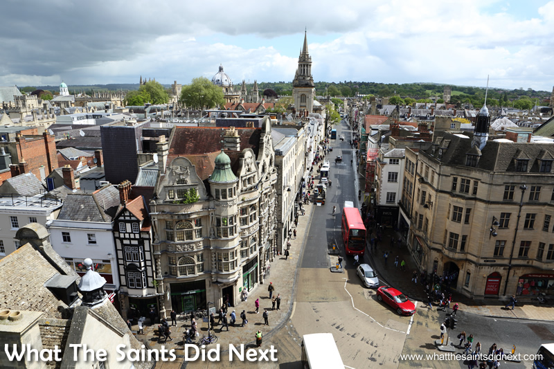 Oxford day trip to the city of Dreaming Spires. A great view of the main street from the top of Carfax Tower.