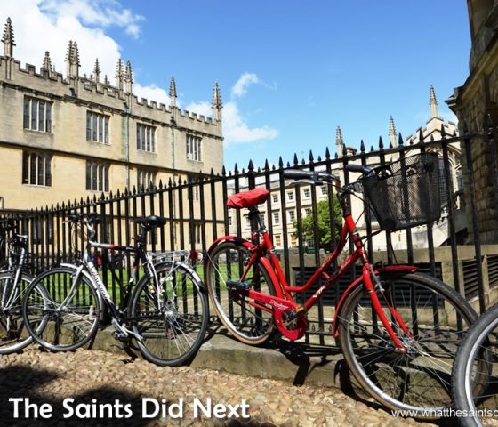 There are bicycles everywhere in Oxford.