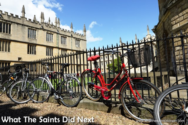 There are bicycles everywhere in Oxford.  The City of Dreaming Spires.
