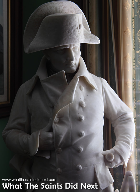 The figure of Napoleon continues to gaze out from behind the Longwood House windows.
