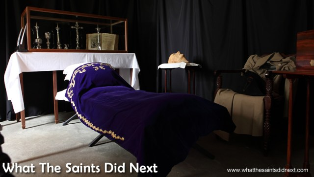 While the rest of Longwood House St Helena is a museum replicating the 5 May 1821 appearance, the Black Room is an exception, modelled on the day after Napoleon died, where his body was laid for public viewing and mourning. For many, this was the only opportunity to physically see Napoleon and islanders visited in droves. Draped in heavy black curtain, the room has the original silverware, missal church book and alter dressing preserved behind glass.