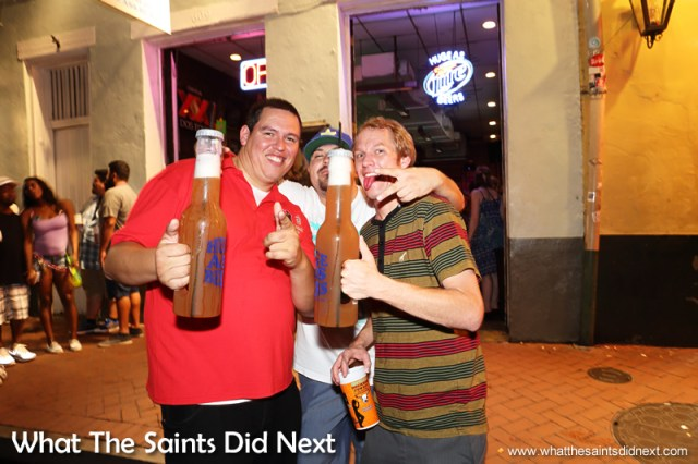 These guys were happy to show off Bourbon Street's famous, 'Huge Ass Beers.'