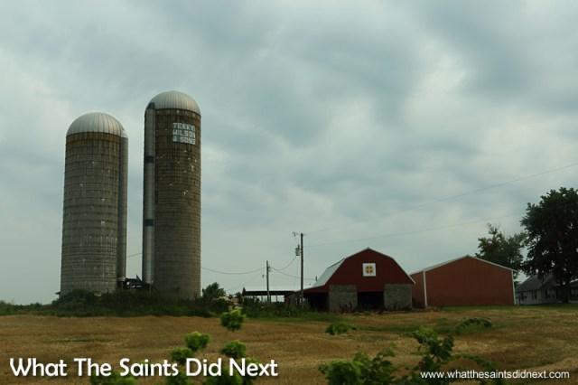 Concrete silos at this grain escalator in Kentucky.