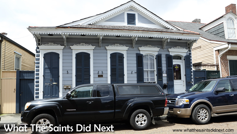 The Marie Laveau House of Voodoo was where this blue building on 1020/1022 Rue (street) St Ann stands. The actual house Marie Laveau Voodoo Queen of NOLA, lived in was demolished in the early 20th century. It would have resembled the brick building next door.