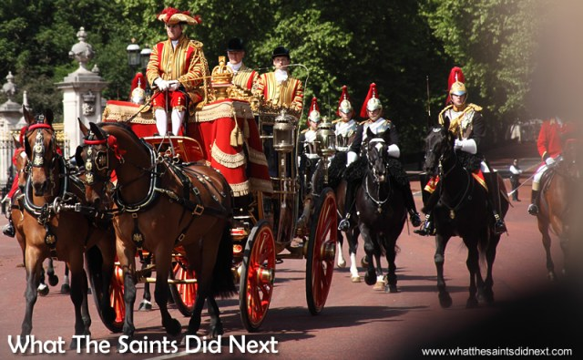The Queen's Horse Guards escorting the carriages along the route. Queen Elizabeth II, longest reigning British Monarch.