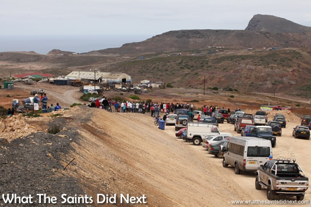 Hundreds of people turned up to watch the historic event of the first aeroplane to land on St Helena.