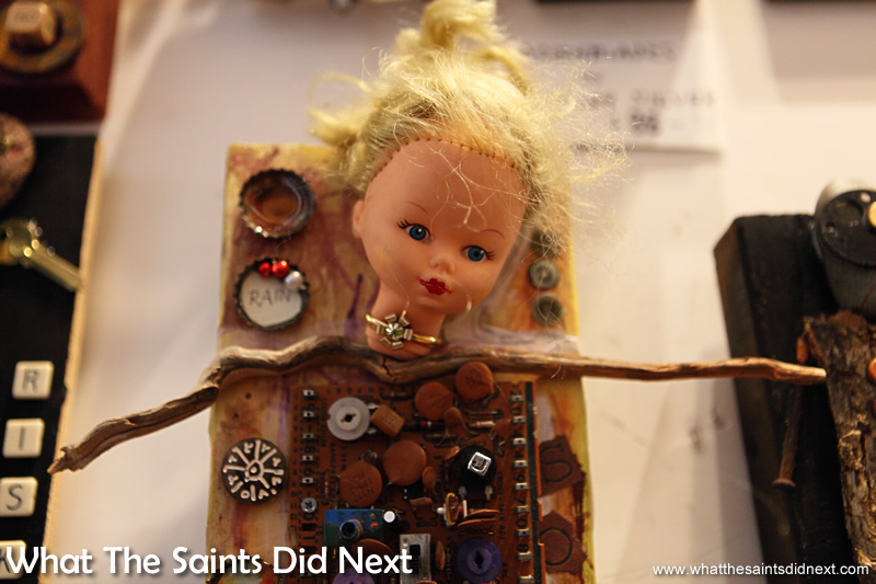 Brings a whole new meaning to 'electronic toys.' Inside the Highway 61 Attic Art Gallery, Vicksburg Mississippi.