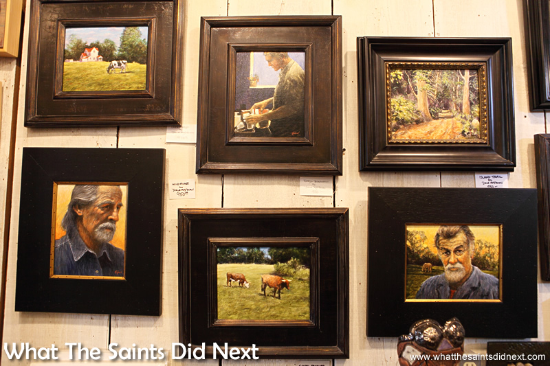 Traditional paintings in the Highway 61 Attic Art Gallery, Vicksburg hang alongside the quirky art.