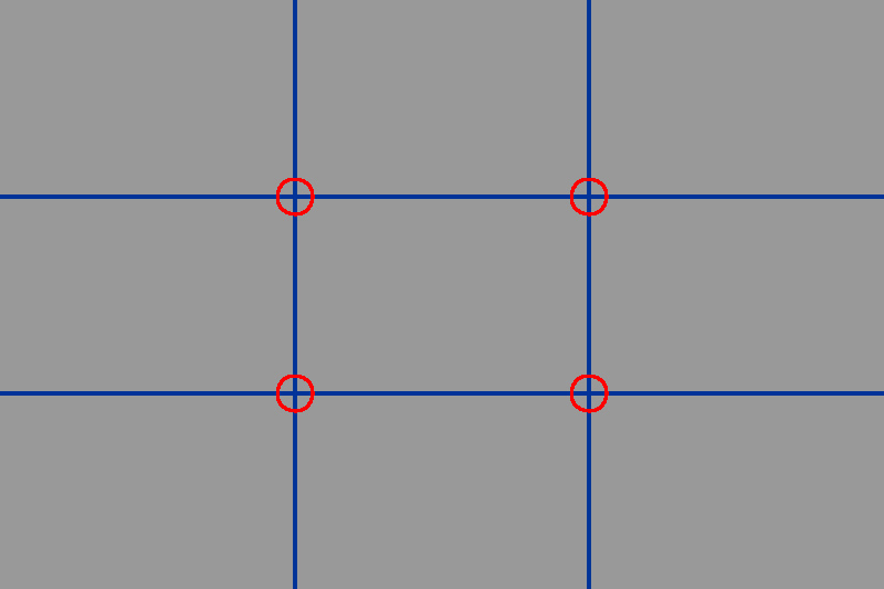 The basic Rule of Thirds grid with 'hotspots' which photographers use to compose better pictures.