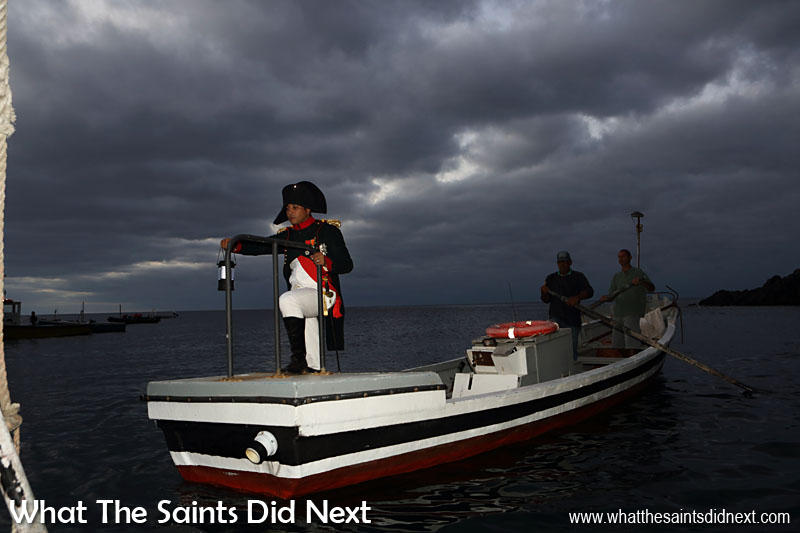 Re-enactment of Napoleon's 17 October, 1815 arrival at St Helena, portrayed by local actor, Merrill Joshua on 17 October 2015, the 200th anniversary of the event.