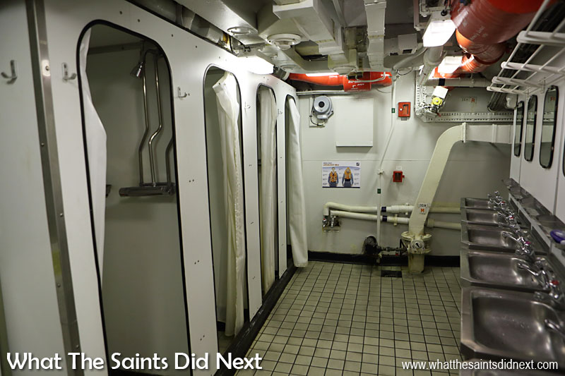 "The washroom for the senior ratings has four shower cubicles shared by 40 to 50 men, ""it gets very busy in the morning."" Routine at sea is soon established but for one-off events such as a ceremonial parade ashore this morning, it was rather crowded in here with everyone getting ready at the same time."