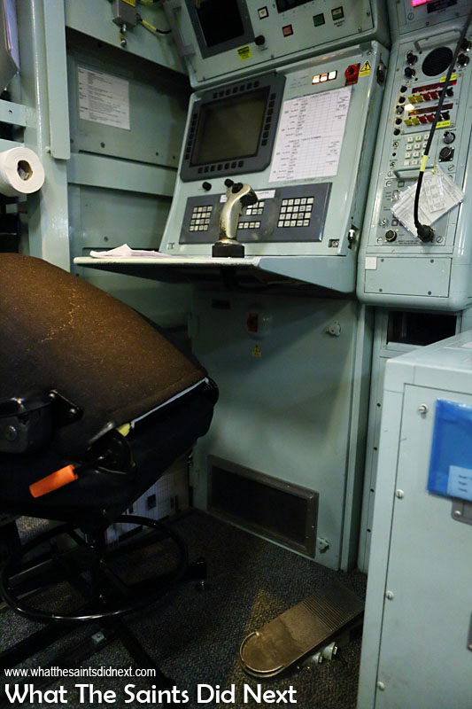 One of the ship's weapons firing consoles. Interestingly, the firing trigger is actually the foot pedal, not the finger trigger on the joystick!