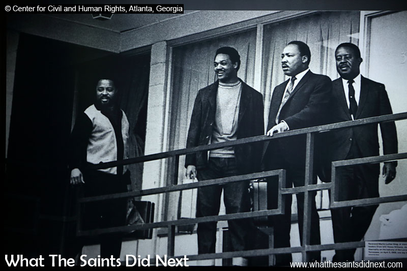 Reverend Martin Luther King Jr stands with fellow civil rights leaders (from left) Hosea Williams, Jesse Jackson and Ralph Abernathy on the balcony of the Lorraine Motel in Memphis, Tennessee, on April 3 1968, one day before King's assassination. (photograph displayed in Center for Civil and Human Rights, Atlanta, Georgia). The Man Who Saw The Last Speech Of Martin Luther King.