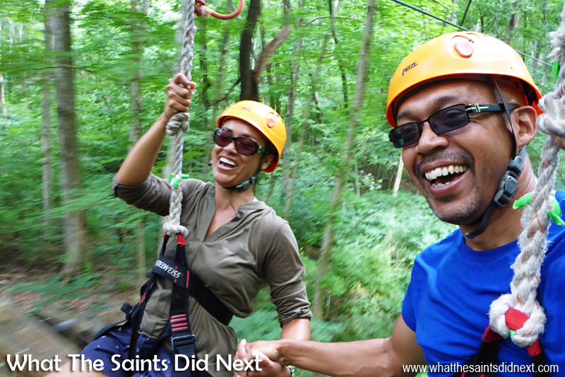 Zip lining with Music City Ziplines of Nashville: The final run of the day had two zip lines running side by side which meant we could fly through the tree tops together. Brilliant fun.