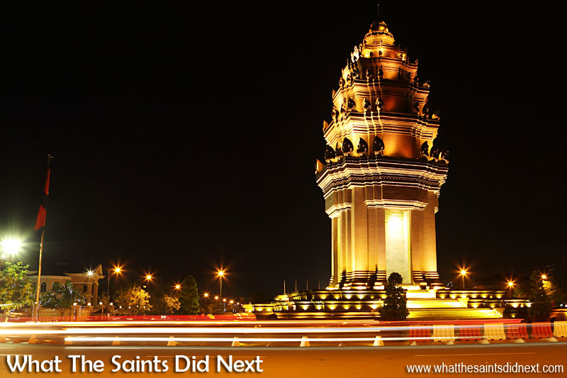 Independence Monument, or Victory Monument, where Cambodia's Independence Day parades usually begin from. Independence Monument is located at the junction of the Preah Norodom and Preah Sihanouk Boulevards and at the end of Neak Banh Teuk Park. Celebrating Cambodia Independence Day With Night Photography In Phnom Penh.