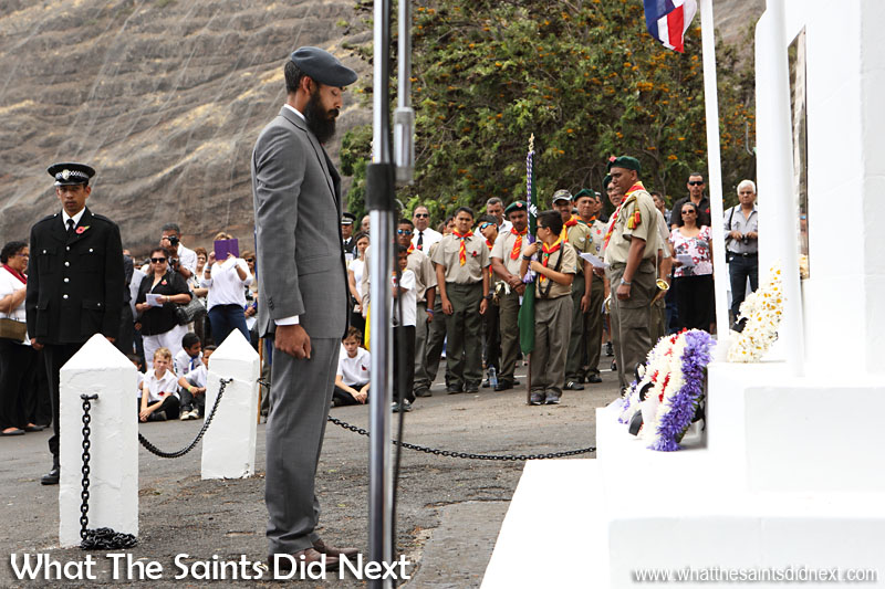 St Helena, Remembrance Day 2015. A St Helenian, ex Royal Air Force serviceman pausing for a moment after laying a wreath on behalf of the RAF. Among the other wreaths laid on the cenotaph were those laid by representatives for the Army and Royal Navy.