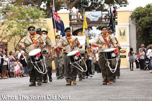 Remembrance Sunday on St Helena 2015. The scouts' marching band.