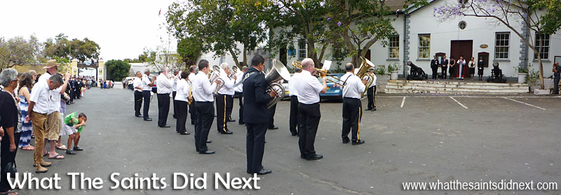 St Helena, Remembrance Day 2015. Gettogethers performing in the Grand Parade.