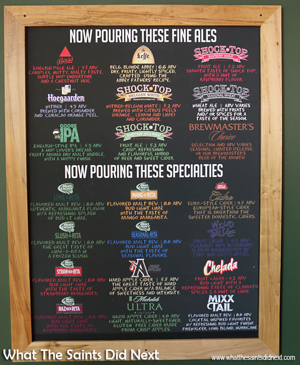 Beer brands list of some of the tantalising choices at the bar after the tour.