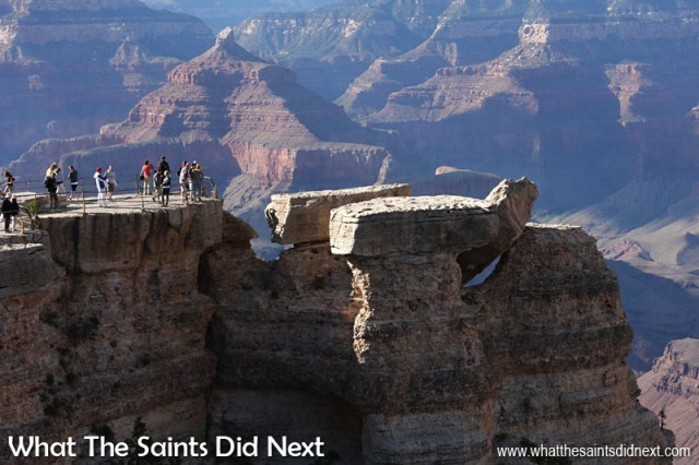 Canon 40D: 16:55, 1/320, f/10, ISO-400 The south rim of the Grand Canyon in Arizona, USA. The sheer scale of this place made it a challenge to convey in a photograph. Photography got better as the shadows grew longer and this location worked quite well with people in the foreground helping with the scale.