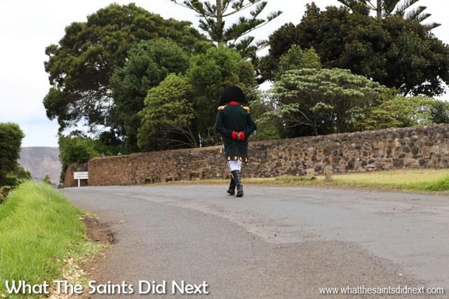 Walking along the boundary wall of Longwood House toward the gate. St Helena exile Napoleon Bonaparte.