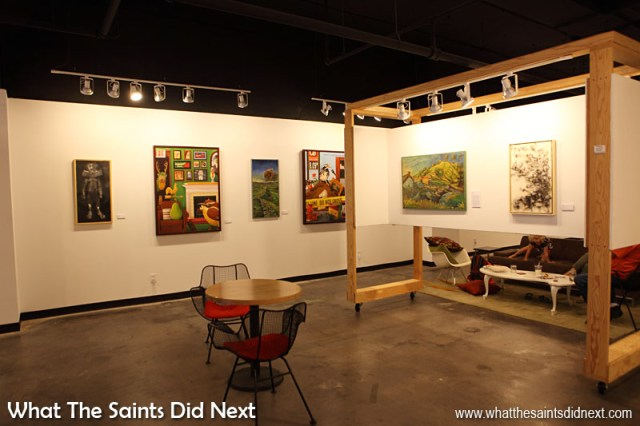 The Art Saint Louis gallery which is part of the Mississippi Mud Cafe and free for customers to enjoy the art or just sit and enjoy their coffee.