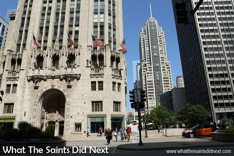 The Chicago Tribune Tower (left) and the tall NBC Tower (with the spire) to the right in The Windy City.