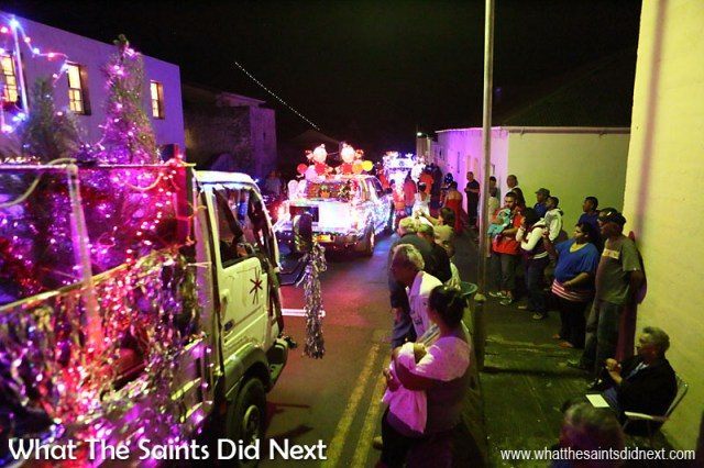 St Helena Christmas street parade the Festival of Lights 2015 - Jamestown residents turn out to watch the parade go by.