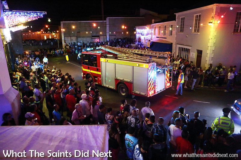 St Helena Christmas street parade the Festival of Lights 2015 - a large crowd waiting to greet the procession on 'The Bridge.'