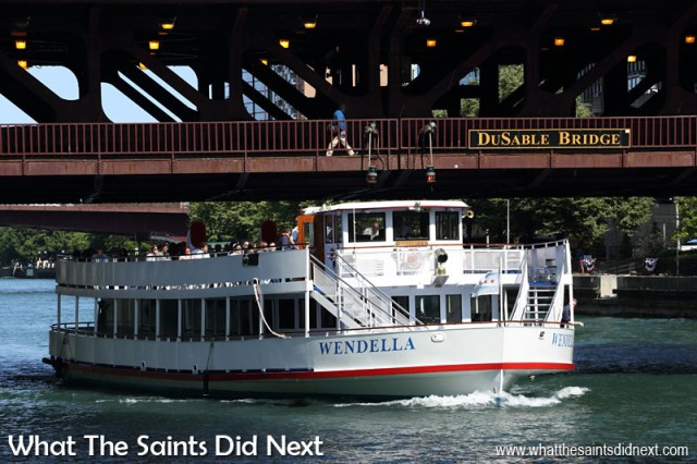 """The Du Sable Bridge over the Chicago River, named after the first non-indigenous permanent settler (1780s) in Chicago, Jean Baptiste Point du Sable, affectionately known as """"Founder of Chicago."""""""