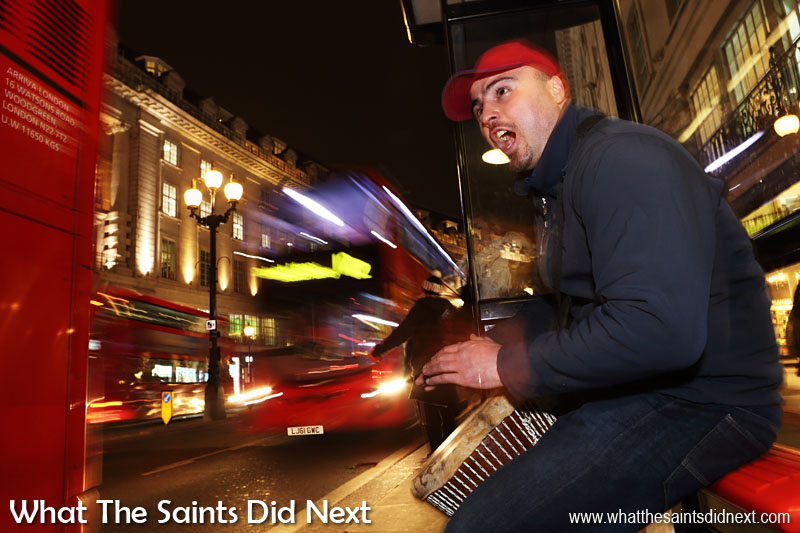 Homeless Frenchman, Dan Ground, earns a living playing his djembe drum and also by drumming on buckets on the streets of London, UK. After meeting Dan on the underground, we later met up on Regent Street after dark to see him perform. Click Here for the full story.
