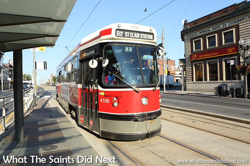 This is one of the Toronto Streetcars, part of the Canadian city's public transport network. We made good use of this during our five days in Toronto; it is quick, cheap and safe and goes right into the downtown and waterfront areas of the city. An estimated 100 million people rode on the Toronto Streetcar system in 2013 - so very popular then!