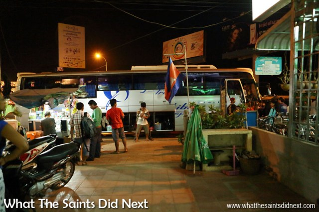 This is the Giant Ibis night bus in Cambodia which we took from Siem Reap to Phnom Penh. The journey took about 6 hours, departing at 10.30pm. Instead of seats, passengers book beds! There are double and single beds, arranged in a two-level bunk system. This was definitely a new experience for us, but a great way to travel through the night.