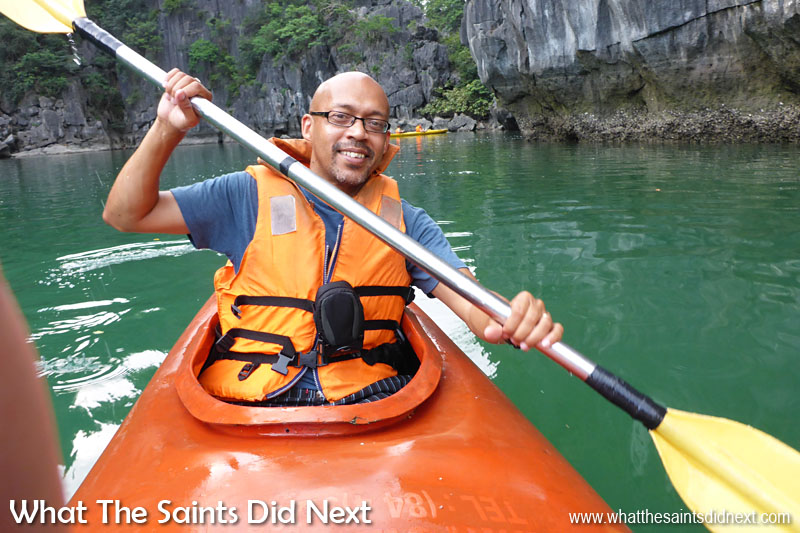 Kayaks are great fun and we did this on a few occasions. This is kayaking among the islands of Vietnam's Halong Bay after we had visited the Surprising Sung Sot caves.