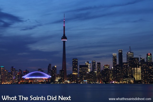 An innovative energy efficient LED exterior lighting system was added in 2007. Lightning strikes the Toronto CN Tower an average of 75 times per year. Long copper strips, running down the CN Tower to massive grounding rods buried below ground level ensure that each lightning strike safely finds its way to ground.