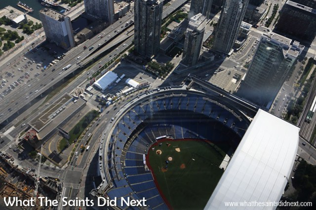 The Rogers Centre (originally SkyDome) is a multi-purpose stadium at the base of the CN Tower in Toronto. It is home to the Toronto Blue Jays baseball team but also hosts other events including trade fairs and concerts.