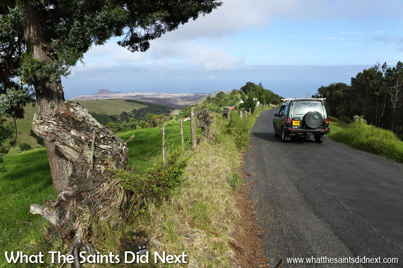 Driving on St Helena is one of the best ways to experience the diverse landscapes. This the road to Levelwood with a great view of the new St Helena Airport site in the distance.